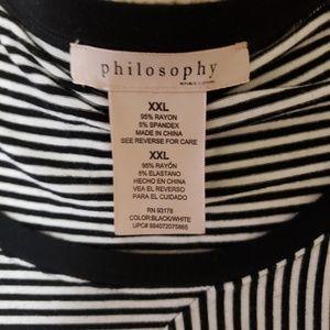 Philosophy Tops - Philosophy Black & White Stripe Asymmetrical Tunic